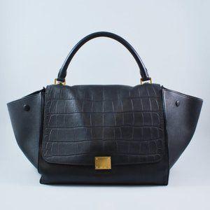 Celine Black Embossed Leather Large Trapeze Bag